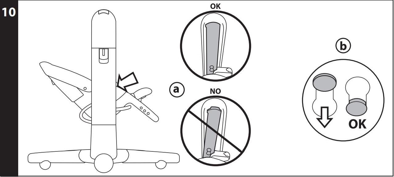 10 Для использования в качестве шезлонга или стульчика, установите боковые опорные стойки параллельно опорным стойкам рамы, ориентируясь по красной линии, нанесённой на опорные стойки (рис_a), а потом нажмите на красные кнопки и потяните их вниз (рис_b).