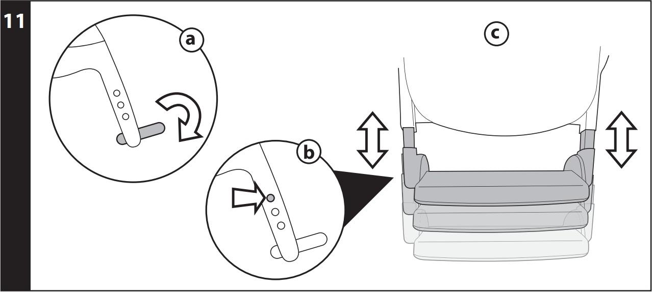 11 ПОДНОЖКА: опустите подножку (рис_a), нажмите на обе боковые кнопки (рис_b) и отрегулируйте подставку на одном из 3 уровней (рис_c).