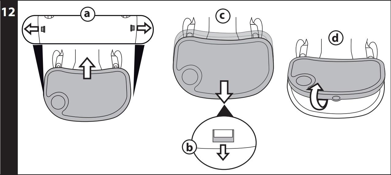 ПОДНОС: чтобы установить поднос, потяните по направлению вовне боковые рычажки, расположенные под ним, и одновременно вставьте поднос в подлокотники, протолкнув его до упора (рис_a). Чтобы отодвинуть поднос, потяните на себя центральный рычаг, расположенный под ним (рис_b), и отодвиньте его (рис_c). Чтобы снять поднос, потяните по направлению вовне боковые рычажки и потяните поднос на себя.
