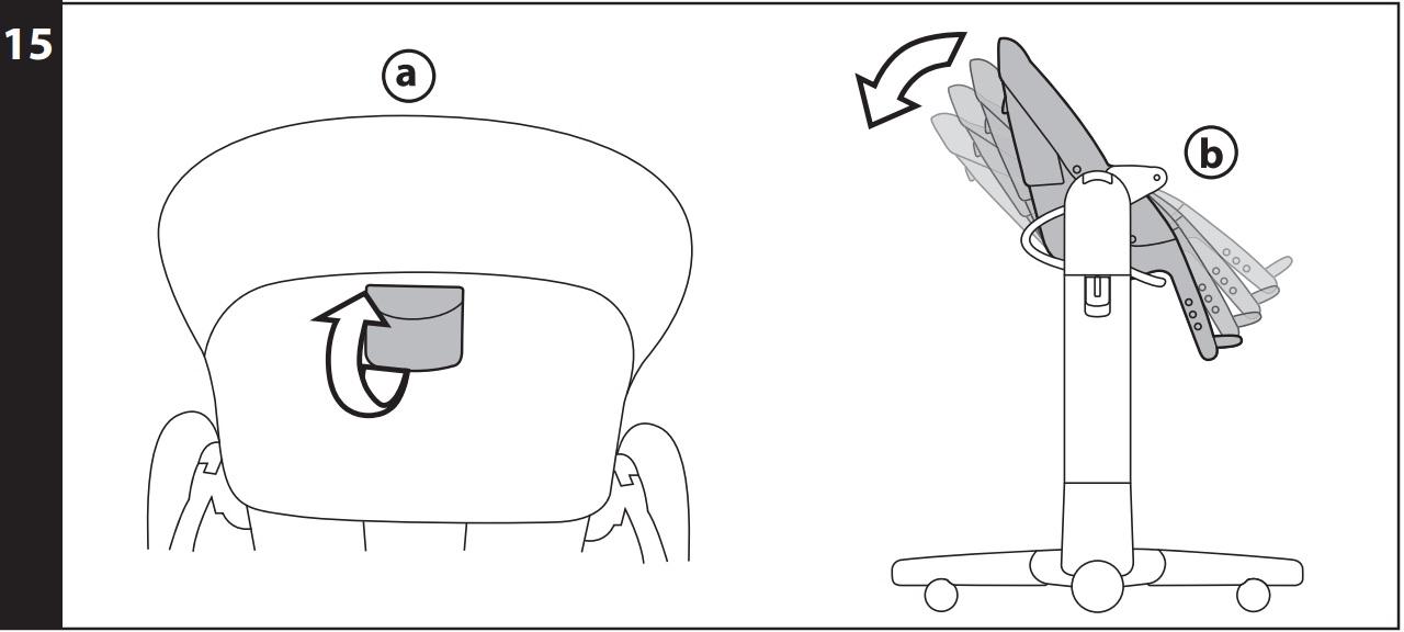 15 ОТКИДНАЯ СПИНКА: предусмотрены 4 положения сидения: для еды, игры, отдыха и краткого сна. Для регулировки положения спинки поднимите ручку, расположенную за спинкой (рис_a), и заблокируйте спинку в желаемом положении (рис_b). Эти действия можно осуществлять и в то время, когда ребенок сидит на стульчике.