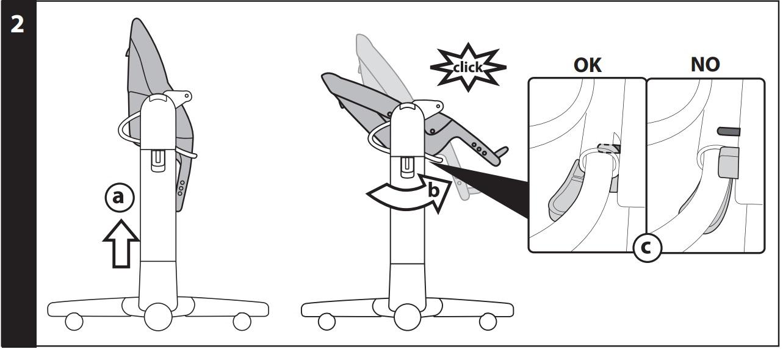 2 Перед началом использования стульчика поднимите сиденье вверх (рис_a), потом полностью, до щелчка, опустите спинку (b) и убедитесь, что штифт присоединён правильно (рис_c).