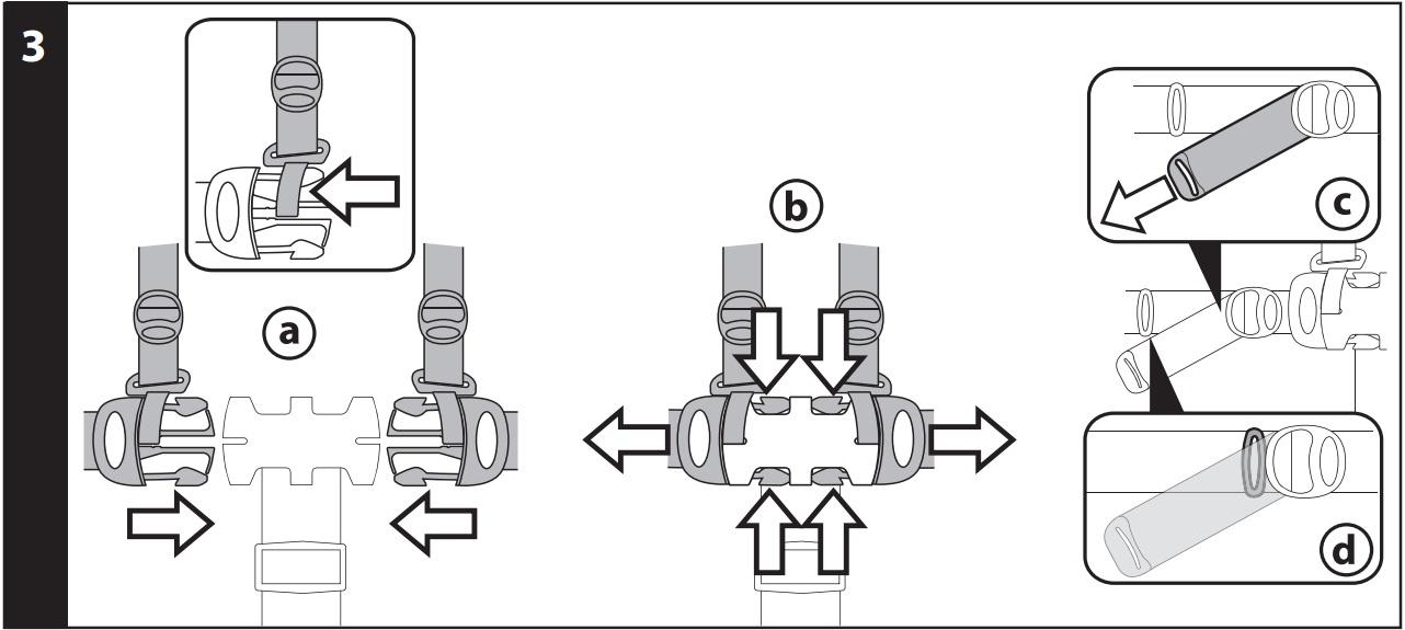 3 ПЯТИТОЧЕЧНЫЙ РЕМЕНЬ БЕЗОПАСНОСТИ: чтобы застегнуть ремень безопасности, вставьте до щелчка две защелки поясного ремня (с прикреплёнными к ним лямками) в пряжку на вставке для разделения ног (рис_a). Чтобы отстегнуть ремень безопасности, нажмите на защелки сбоку и одновременно потяните поясной ремень наружу (рис_b). Чтобы укоротить поясной ремень, потяните за его концы с двух сторон в направлении, указанном стрелкой (рис_c), чтобы удлинить ремень, действуйте наоборот. Поясной ремень может быть укорочен до стопора безопасности (рис_d).
