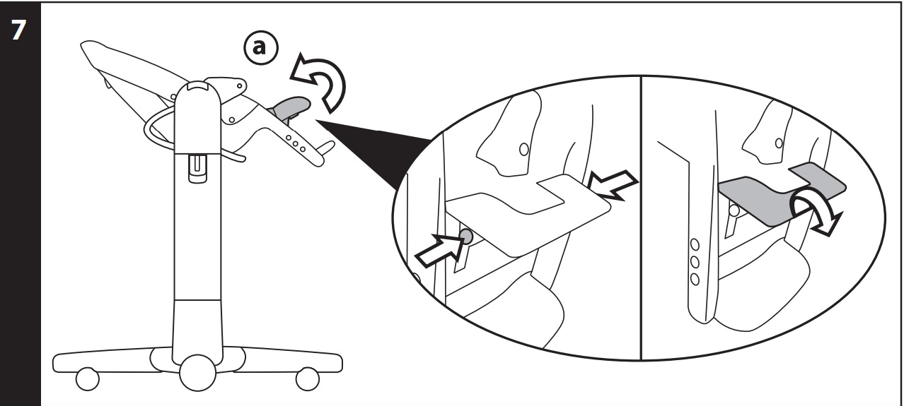 7 ПОДСТАВКА ДЛЯ САМЫХ МАЛЕНЬКИХ: стульчик снабжен подставкой, которую можно использовать в варианте «шезлонг-качалка». Поднимите подножку, потянув ее по направлению вверх (рис_a), чтобы убрать ее, нажмите на две боковые кнопки (рис_b) и потяните ее по направлению вниз (рис_c).