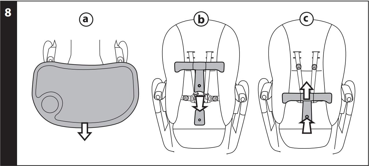 8 ШЕЗЛОНГ-КАЧАЛКА: прежде чем установить стульчик в положение «шезлонг-качалка», при необходимости отсоедините поднос (рис_a) и вставьте защитную переднюю панель (рис_b). Для удаления защитной панели нажмите на две кнопки, находящиеся в её основании, и снимите её (рис_c).