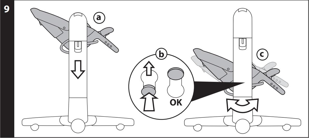 9 КАЧАЛКА: чтобы превратить стульчик в качалку, установите сидение в самое нижнее положение (рис_a), нажмите на красные кнопки, имеющиеся на внутренней части опорных стоек, и потяните их по направлению вверх (рис_b). Сидение в положении качалки (рис_c).