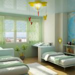 Стены в помещении оклеивают обоями или окрашивают специальными красками.