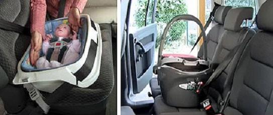 Автолюльки фиксируются штатными ремнями автомобиля