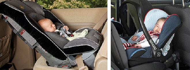 В автокреслах новорожденного перевозят полулежа