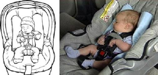 Для дополнительной фиксации головы ребенка допускается использовать валики