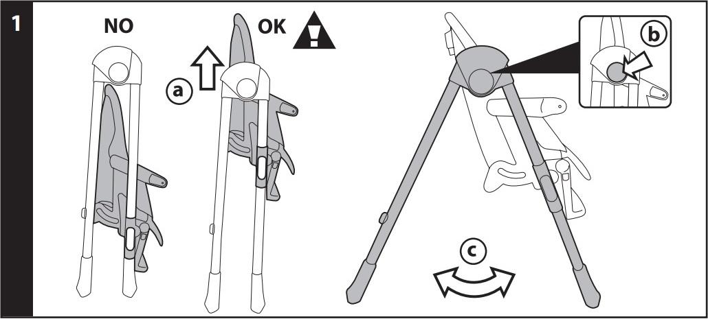 1 ОТКРЫТИЕ: Поднять стул (рис a), прижать боковые кнопки (рис b) и открыть стул (рис c).