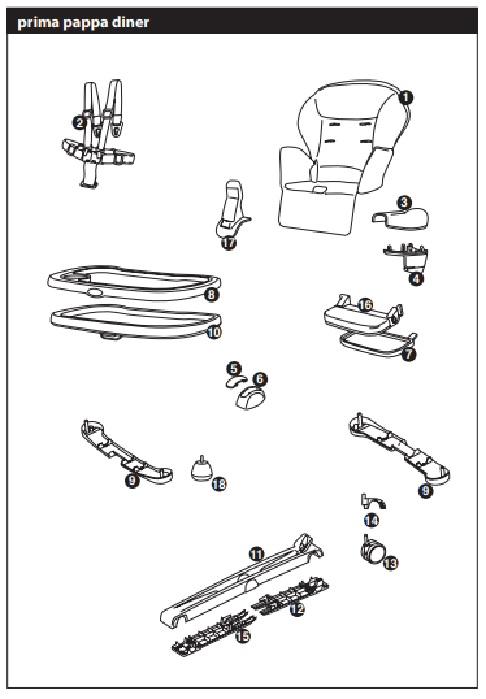 Инструкция к стульчику для кopмлeния Peg-Perego Prima Pappa Diner р-29