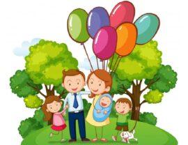 родители с тремя детьми